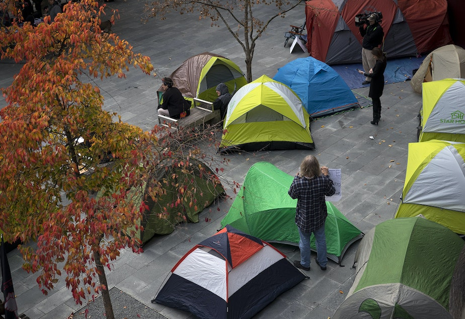 caption: Tents are shown as people gathered to protest the sweeps of homeless camps in November, 2017, at City Hall in Seattle.