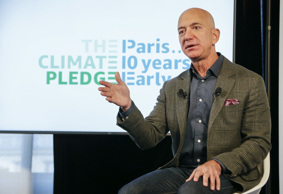 Amazon CEO Jeff Bezos announces the company's climate initiative Thursday at the National Press Club in Washington, D.C.