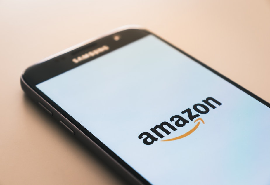 Amazon logo on a cellphone
