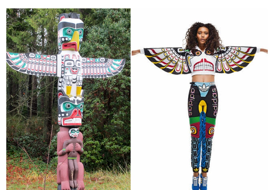 caption: Left: Replica of totem pole carved in early 20th century by Kwakwaka'wakw artist Charlie James in Stanley Park, Vancouver B.C. Right: A track suit produced by Adidas, design adapted from Charlie James' totem pole. Click on this image for more examples.