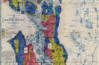 A 1936 map that shows where banks prevented residents in the Central District from accessing loans to buy homes.