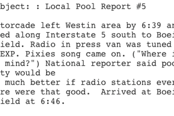 The White House sent out this pool report by Seattle Times reporter Jim Brunner.