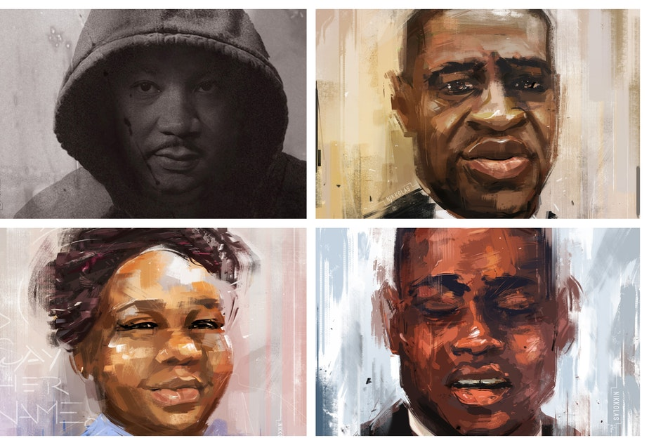 caption: Clockwise from upper left: Dr. Martin Luther King Jr., Mr. George Floyd, Ms. Breonna Taylor, and Mr. Ahmaud Arbery
