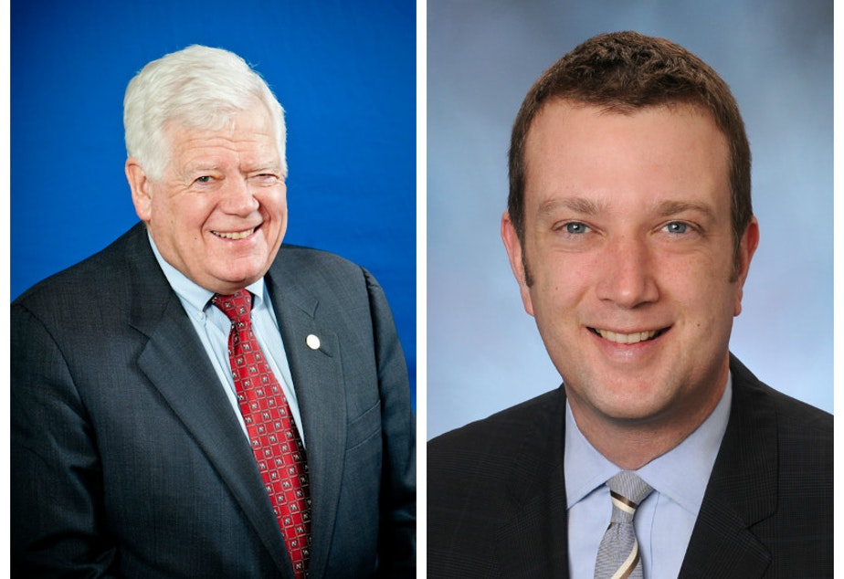 caption: Jim McDermott, left, and James Joseph McDermott, right. Jim is retiring from Congress after 14 terms and Joe wants his spot.