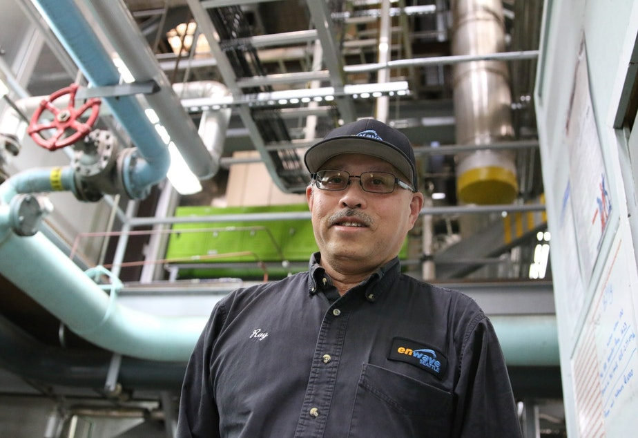 """Ray Lee works for Enwave, formerly known as Seattle Steam. They've been heating buildings downtown and in Pioneer Square for over a century, through pipes that run under the streets (some are still wrapped in bark). The fuel is sawmill waste, and they draw water from a well on Alaskan Way. They claim """"district heating"""" is much more environmentally friendly than each building having its own boiler and generating emissions under less controlled circumstances."""