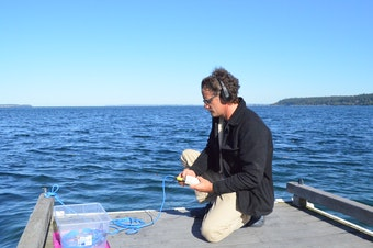 Oceanographer Scott Veirs sets up a hydrophone at Whidbey Island's Bush Point to listen to ships and orcas.