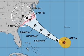 Hurricane Florence is expected to reach the coast of North Carolina late this week. The storm is extending hurricane-force winds up to 40 miles from its center, the National Hurricane Center says.