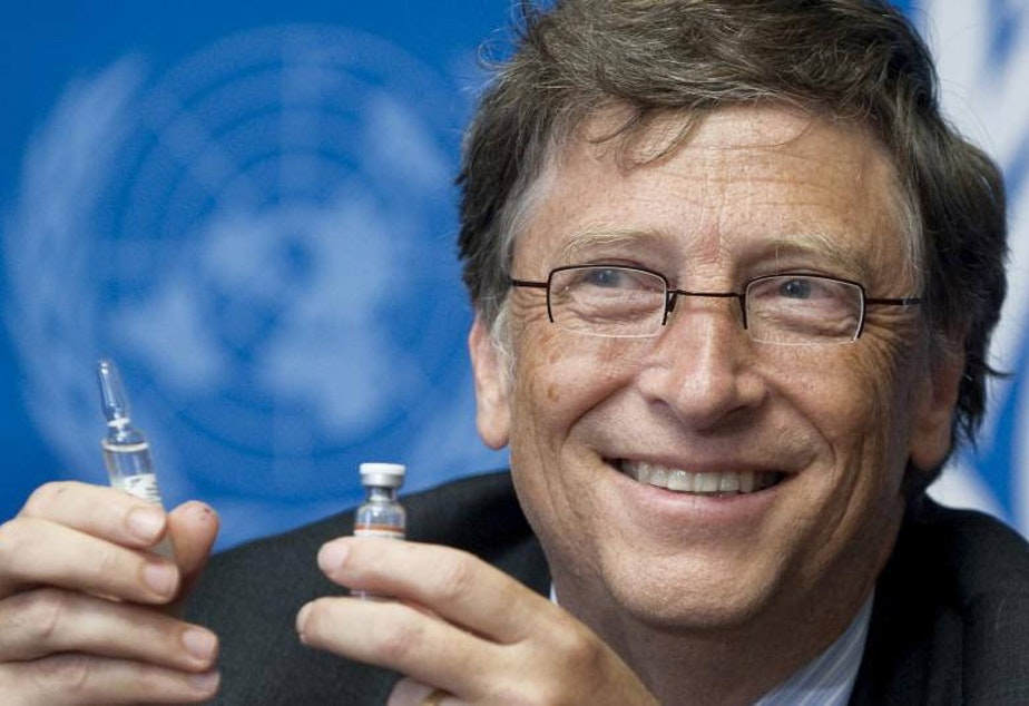 caption: Bill Gates, Co-Chair the Bill & Melinda Gates Foundation shows a vaccine during a press conference in 2011. As the Covid-19 pandemic spread in 2020, conspiracy theories about vaccines pursued by the Gates Foundation began to spread online.