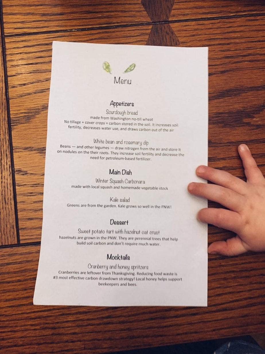 The menu for my first attempt at a low-carbon dinner party.