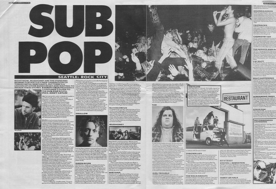 caption: We found this on Archived Music Press, an online hub of music journalism. The site is full of scanned articles published 1987-1996 of the British weekly music magazine Melody Maker. This is what journalist Everett True had to say about visiting Seattle and seeing Sub Pop signed bands like Nirvana back in 1989.