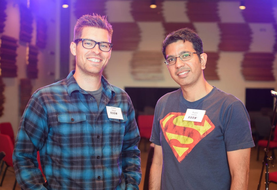 Anders and Ruchir at KUOW's Ask an Immigrant event