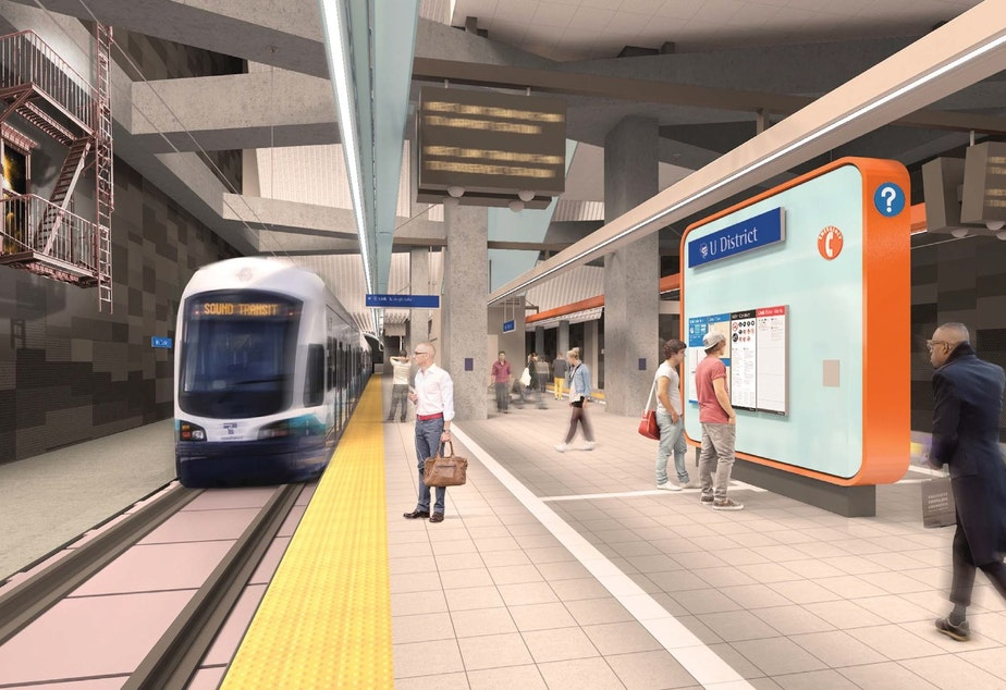 caption: These photos of the University District Station, which is 90 percent designed, show conservative art referencing the neighborhood's architectural heritage. Scroll down to see more drawings of the station's proposed design.