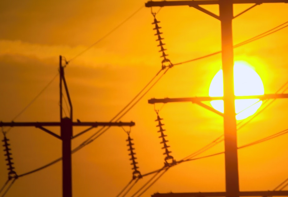 caption: Powerlines stand in the setting sun.