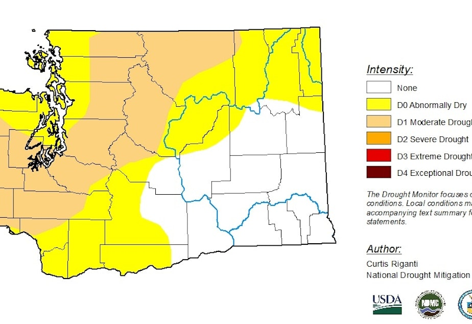 The weekly drought map for Washington state released Thursday, May 16, 2019.