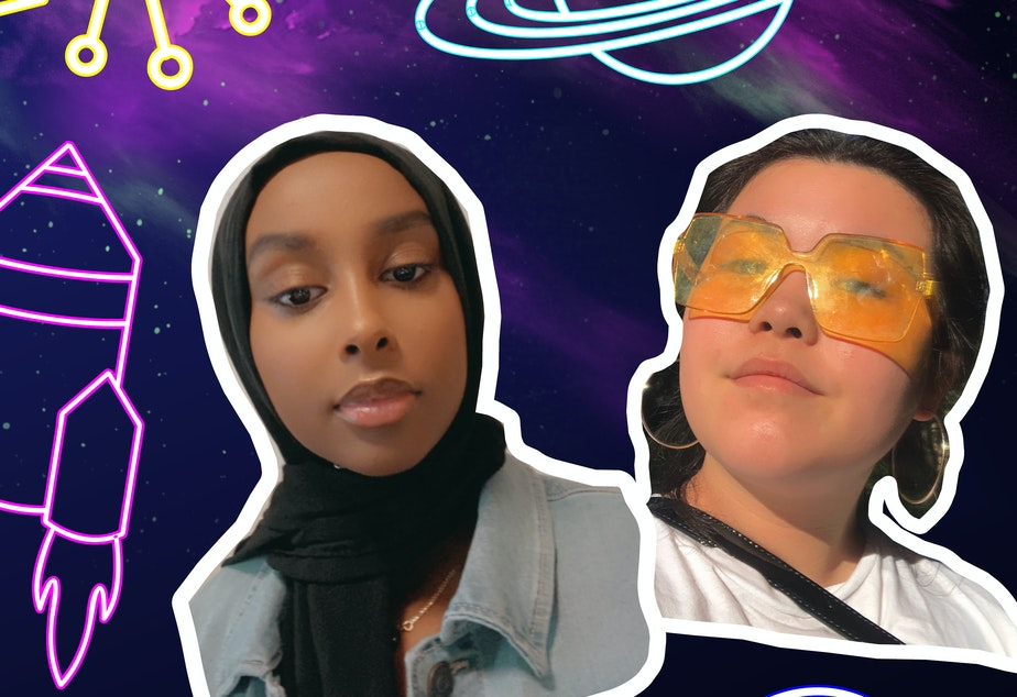 caption: Adar Abdi (left) and Ruby Lee host this RadioActive Youth Media showcase. The two say the loneliness and uncertainty of the pandemic can feel like being lost in space.