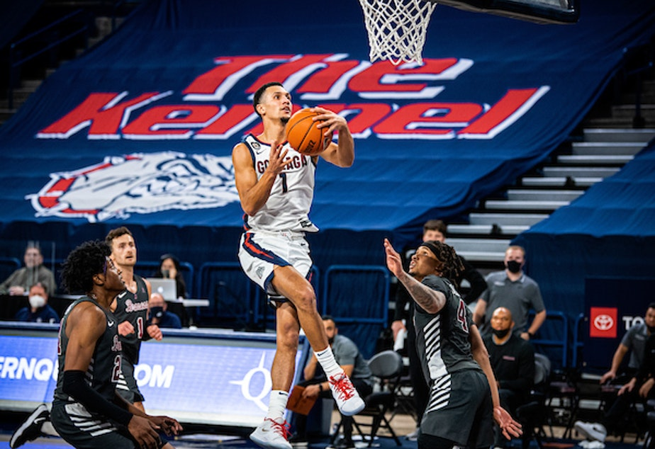 caption: The Gonzaga men's basketball team is the betting public's favorite to win the 2021 NCAA tournament, according to the American Gaming Association.
