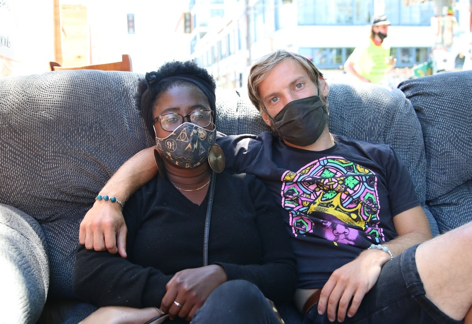 """caption: Keely Thomas and Jordan Lyon created the Decolonization Conversation Cafe in the chop, a place for people to have thoughtful conversations about race, policing """"and learn what we don't know about each other."""""""