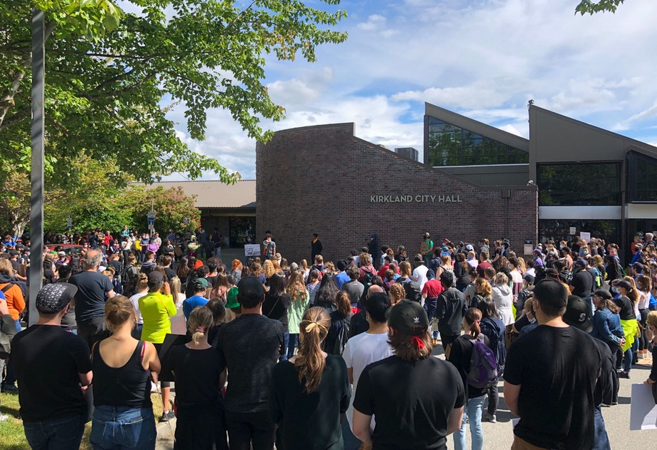 caption: Hundreds of people rallied at Kirkland City Hall on Saturday protesting police brutality and the killing of George Floyd.