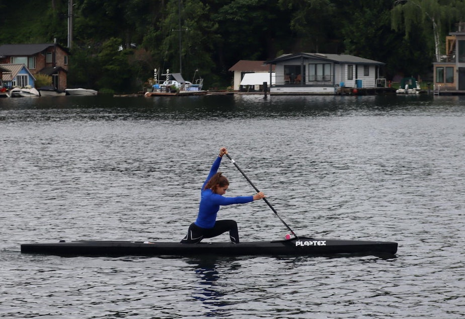 caption: At Portage Bay in Seattle in mid-May, canoeist Nevin Harrison started her final block of training before the rescheduled Tokyo 2020 Olympics.