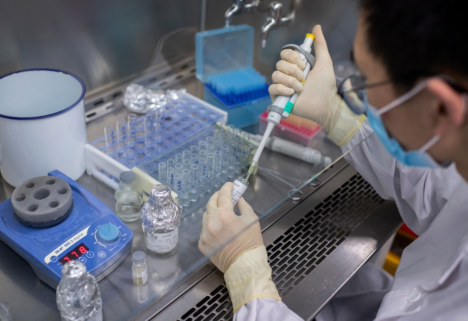 caption: An engineer works in April on an experimental COVID-19 vaccine at Sinovac Biotech's facilities in Beijing. Sinovac Biotech is conducting one of four clinical trials that have been authorized in China.