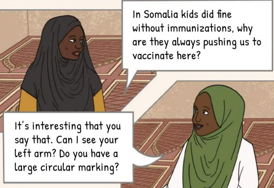 One of the opening panels in a graphic-novel style pamphlet created by the Somali Health Board to encourage vaccinations.