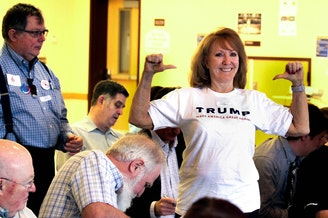 Barbara Hagstrom of Duvall shows off her Trump t-shirt at the 5th Legislative District GOP Caucus last month.