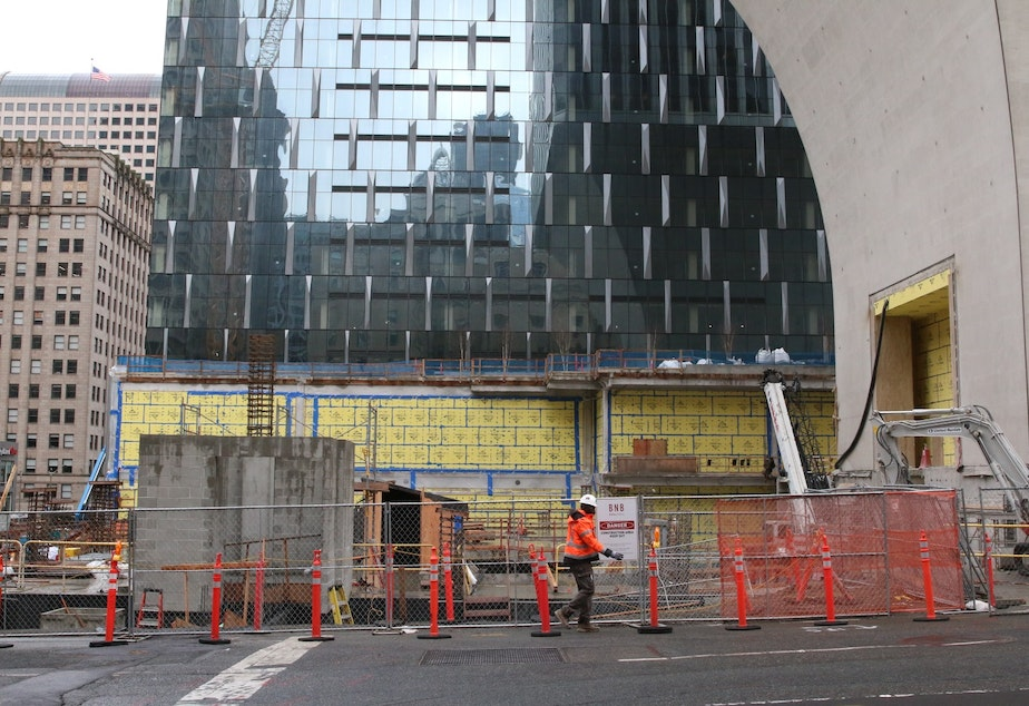 caption: Across the street from the Rainier Square construction site, normally one of the busiest places in the city.