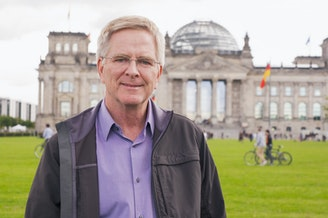 Rick Steves at the Reichstag building in Berlin.