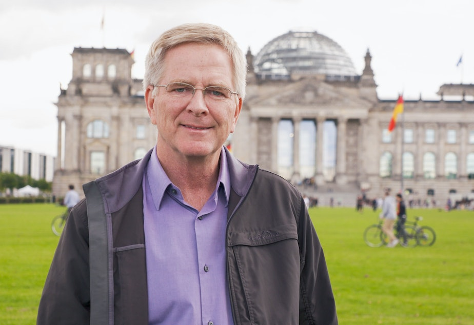 caption: Rick Steves at the Reichstag building in Berlin.