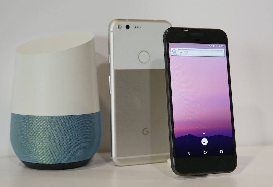 caption: FILE - In this Oct. 4, 2016 file photo, the new Google Pixel phone is displayed next to a Google Home smart speaker, left, following a product event in San Francisco.