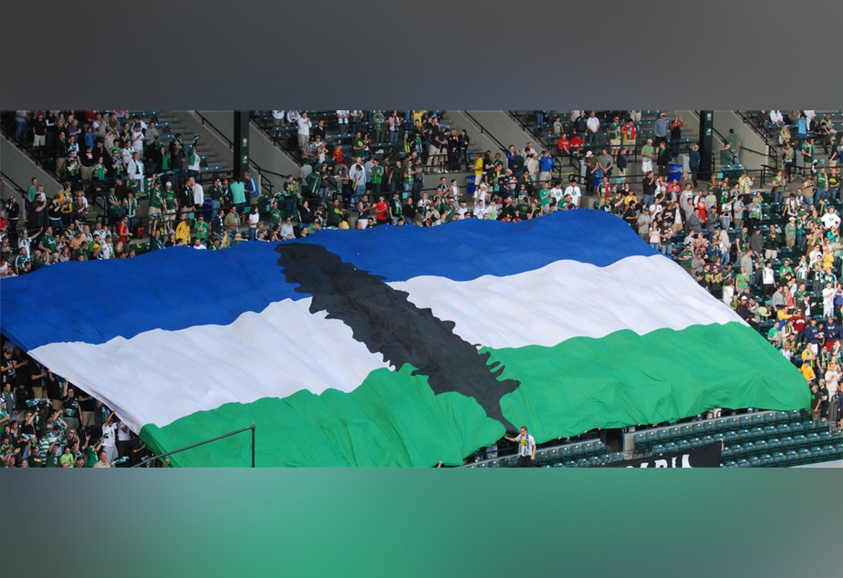 caption: Friends: this could be us. Patriotically flying our proud region's standard - Cascadia.