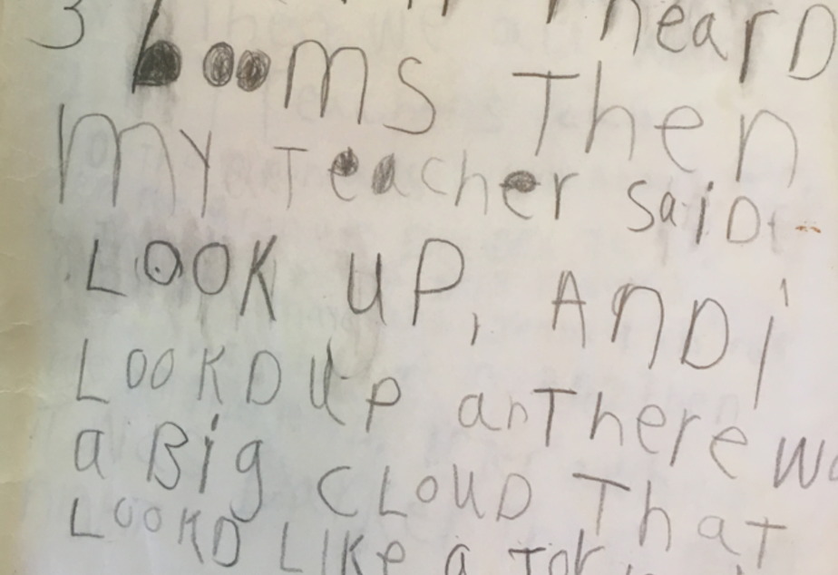 caption: An excerpt from Austin Jenkins' first grade journal about the Mount St. Helens eruption on May 18, 1980.
