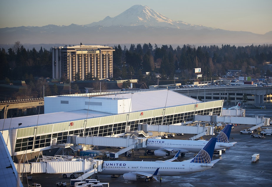 caption: The A concourse at Seattle-Tacoma International Airport in front of Mt. Rainier in December 2017.