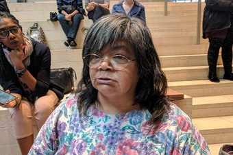 Gina Owens became homeless within a month of being evicted a few years ago. She spoke at a press conference about a study on the human cost of evictions at Seattle City Hall, Sept. 20, 2018.