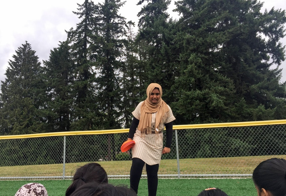 Noor Aamir coaching at the soccer camp.