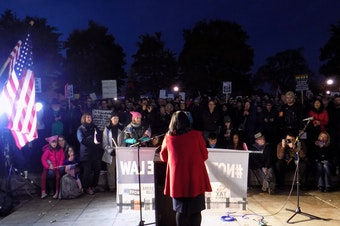 Representative Pramila Jayapal addresses the Protect Mueller rally at Cal Anderson Park in Capitol Hill.