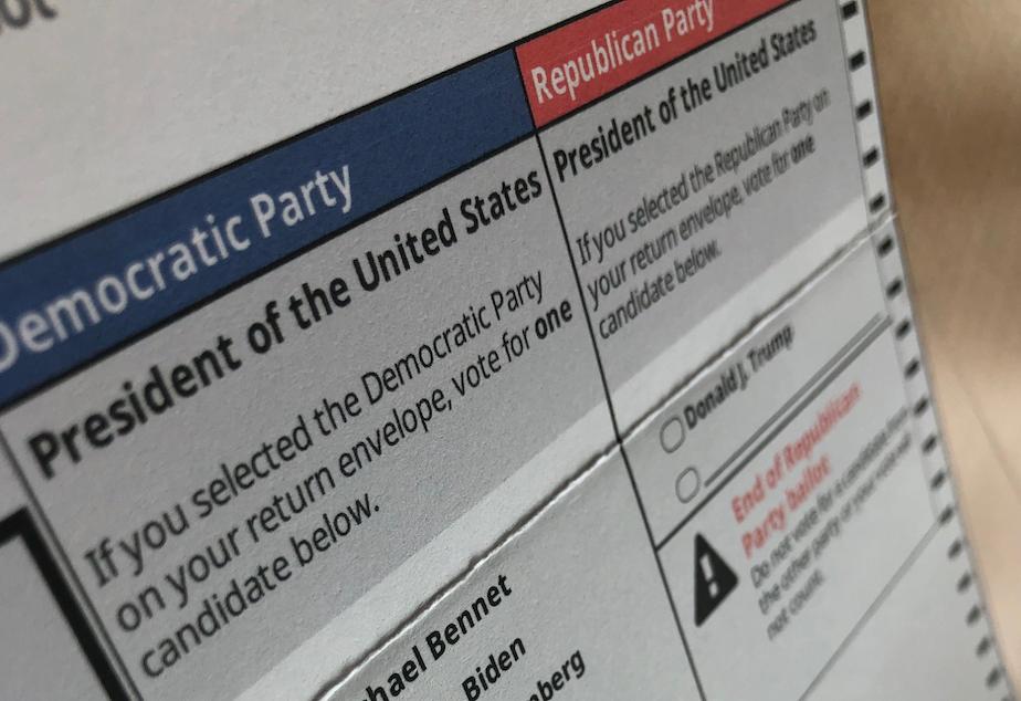 caption: 2020 primary ballot from King County, Washington.