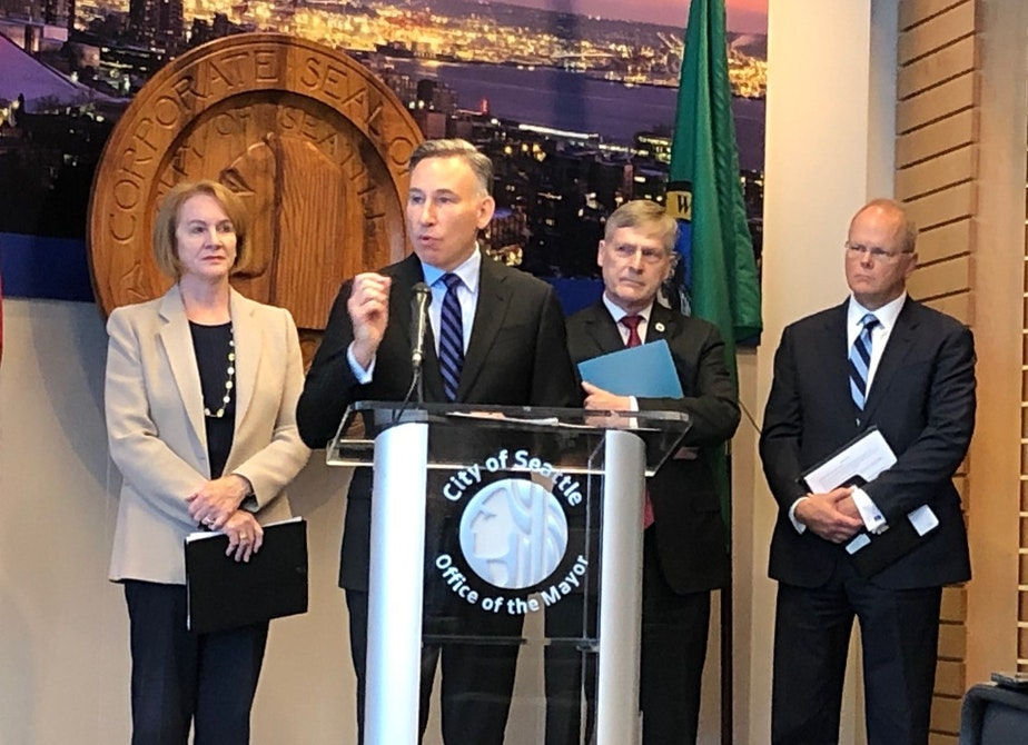 caption: King County Executive Dow Constantine said they want to pilot special jail, probation and shelter services for repeat low-level offenders.