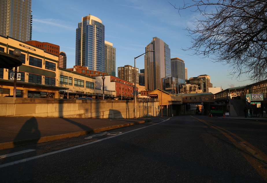 caption: The streets of Seattle are empty in March 2020 during the coronavirus outbreak