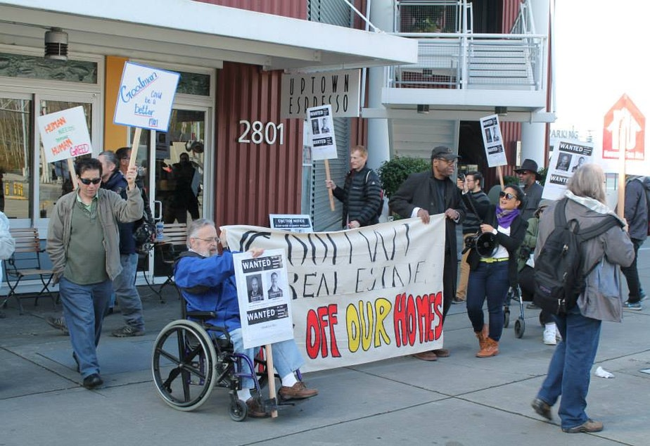 caption: The Theodora Rescue Committee and Lockhaven Tenants Union picketed at the Goodman Real Estate headquarters on Tuesday.