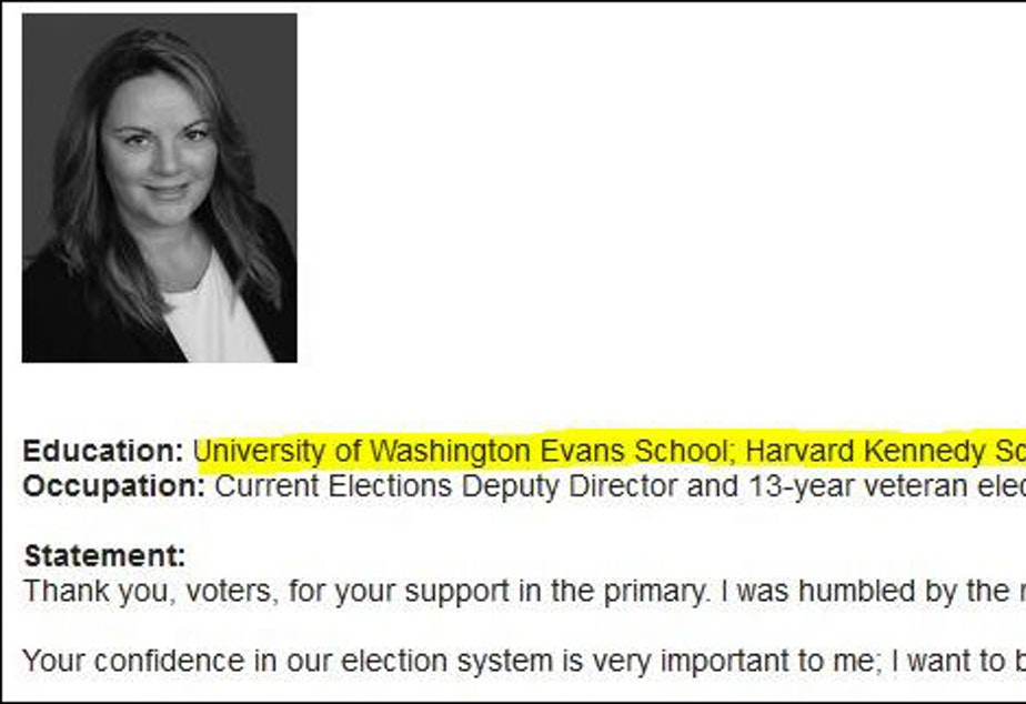 """caption: In her listing for King County elections director in the county voters' pamphlet, Julie Wise lists """"University of Washington Evans School"""" and """"Harvard Kennedy School."""""""
