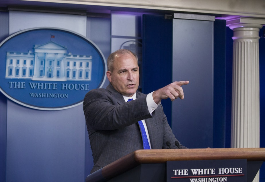 caption: Acting Customs and Border Protection director Mark Morgan speaks with reporters in the briefing room at the White House, on Nov. 14, 2019.