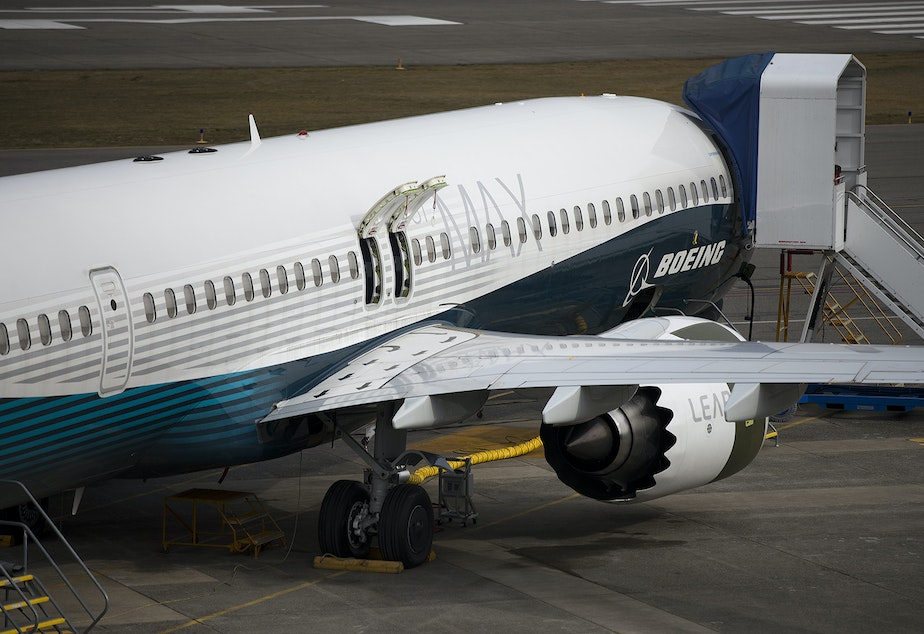 caption: A Boeing 737 MAX aircraft is shown on Thursday, March 14, 2019, at the Boeing Renton Factory in Renton.