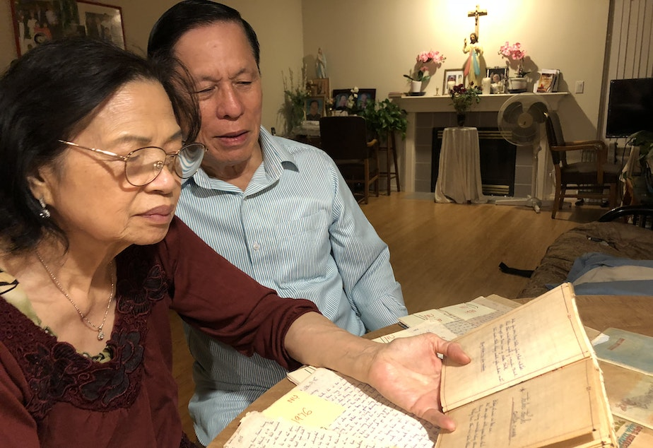 Thanh Ta (right) was a prisoner in a Communist re-education camp after the Vietnam War. As a way to connect with his family thousands of miles away, he wrote letters, poems and stories. When he immigrated to the United States, he kept every single piece of writing. He reads over them with his wife, Nu, over 40 years after they were written.
