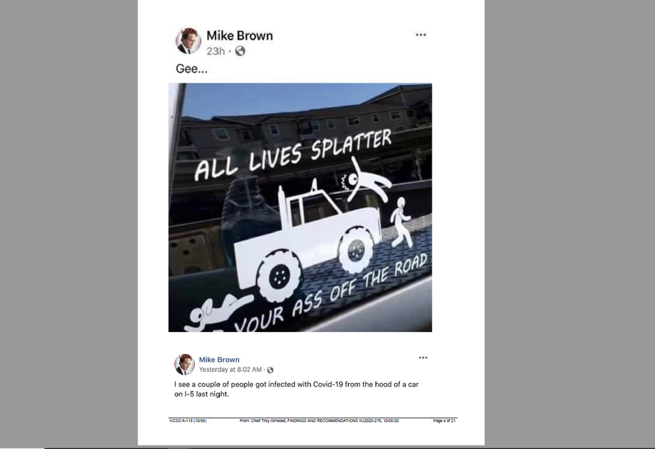 caption: Det. Michael Brown of the King County Sheriff's Office posted this Facebook post following the death and serious injury of two protests on Interstate 5 in Seattle.