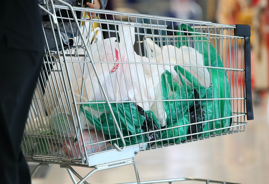 Plastic bags in a grocery cart.