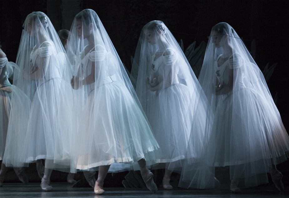 """caption: Pacific Northwest Ballet company members in """"Giselle"""""""