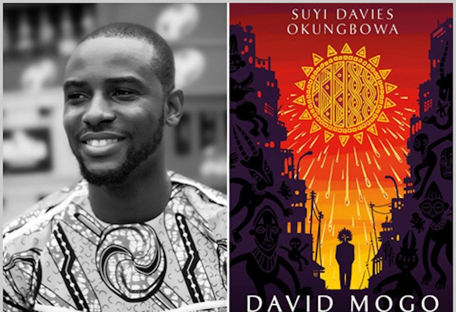 caption: Author Suyi Davies Okungbowa with the cover of his first novel: David Mogo, Godhunter.