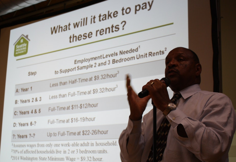 Andrew Lofton of Seattle Housing Authority defends his agency's rent hikes to Yesler Terrace tenants last week. Many tenants say they can earn the wages indicated in Lofton's presentation but that low wage is often not steady work.