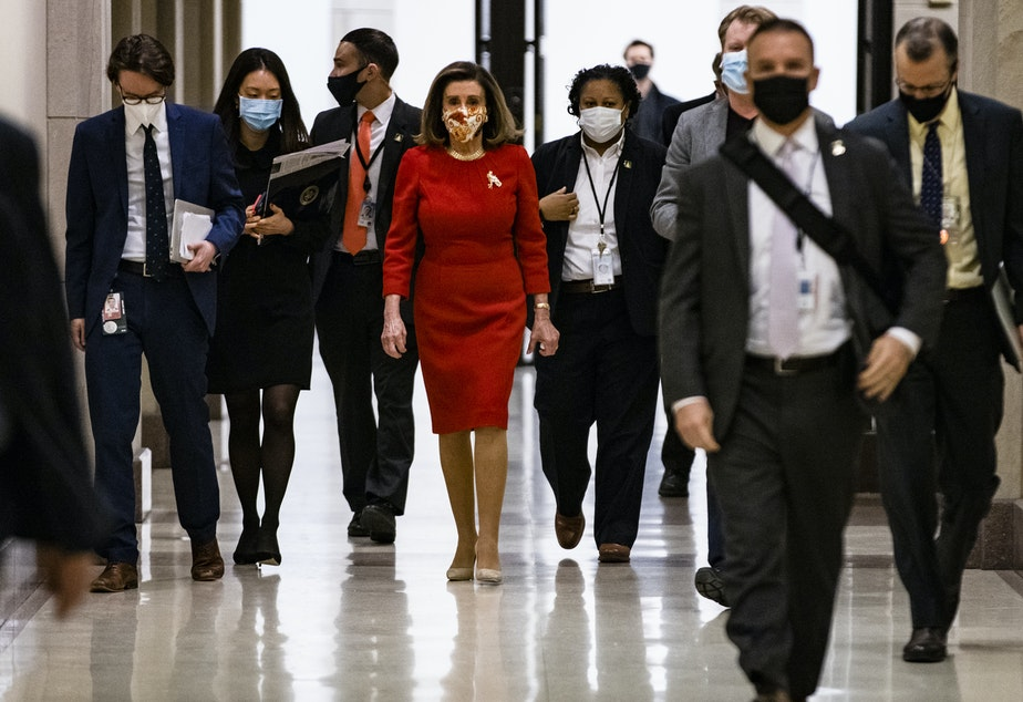 caption: House Speaker Nancy Pelosi, seen at the Capitol on Feb. 11, has called for an independent commission to investigate the Jan. 6 Capitol insurrection.